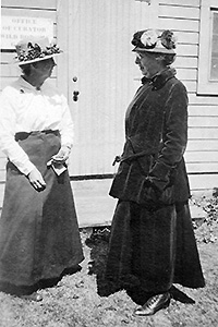 Eloise Butler with friend at the Garden office