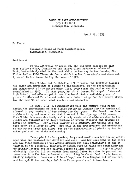 Theodore Wirth letter page 1