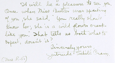 Gertrude Cram note to Martha Crone